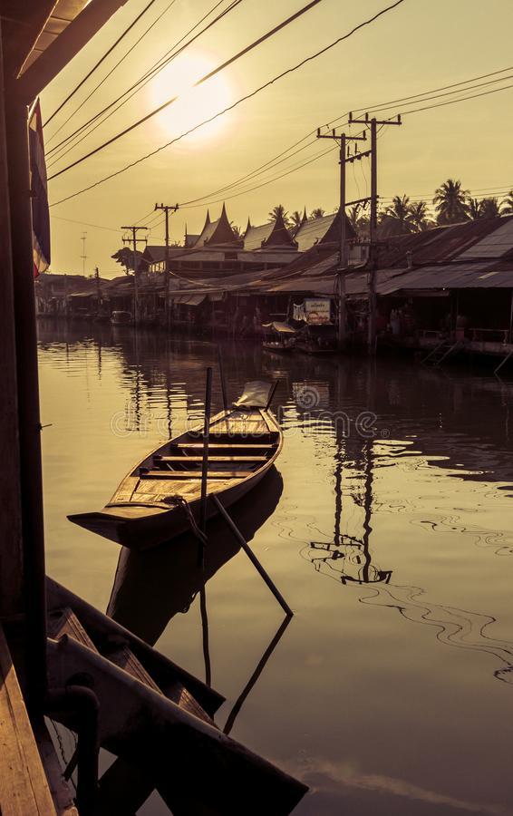 Amphawa district,Samut Songkhram Province,Thailand on April 13,2019:Morning sun at Amphawa Floating Market. Amphawa Floating Market is the most famous tourist royalty free stock image