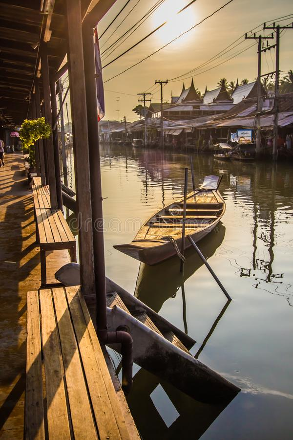 Amphawa district,Samut Songkhram Province,Thailand on April 13,2019:Morning sun at Amphawa Floating Market. Amphawa Floating Market is the most famous tourist royalty free stock images