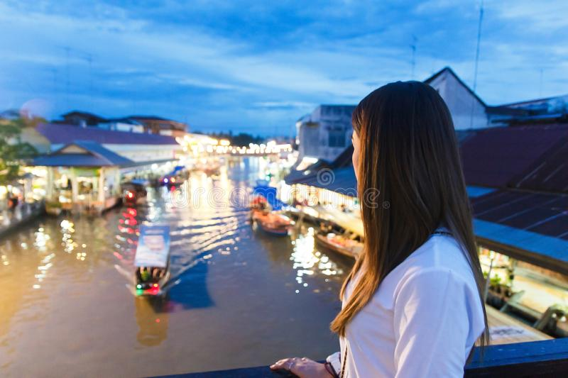 Amphawa floating market in evening. At Thailand royalty free stock photo