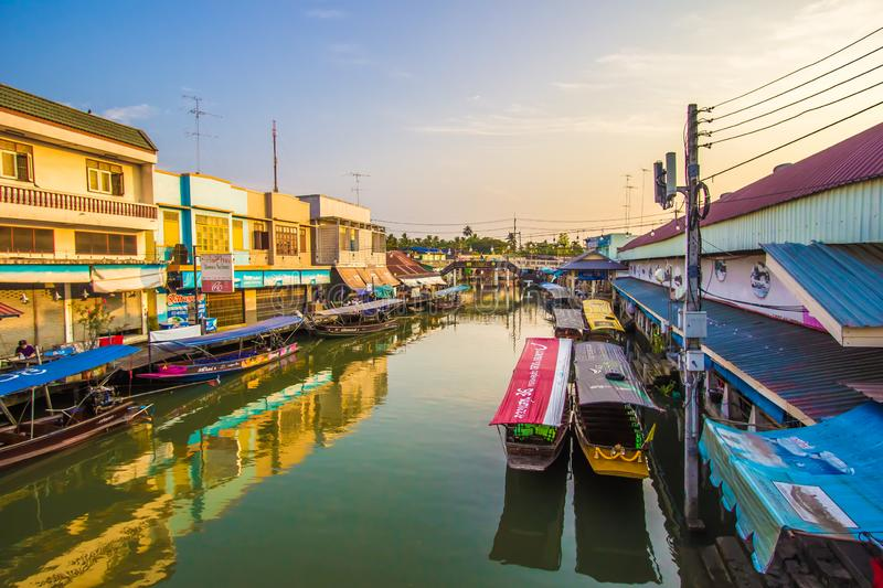 Amphawa district,Samut Songkhram Province,Thailand on April 13,2019:Amphawa Floating Market with peaceful atmosphere in the mornin. Amphawa Floating Market is royalty free stock photography