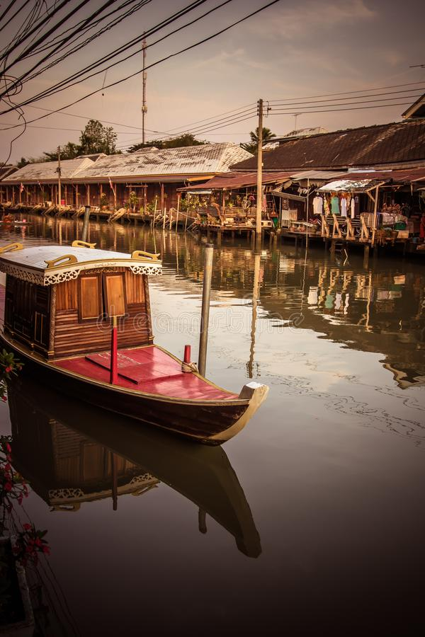 Amphawa district,Samut Songkhram Province,Thailand on April 13,2019:Amphawa Floating Market with peaceful atmosphere in the mornin. Amphawa Floating Market is stock photo