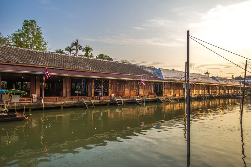 Amphawa district,Samut Songkhram Province,Thailand on April 13,2019:Amphawa Floating Market with peaceful atmosphere in the mornin. Amphawa Floating Market is stock image