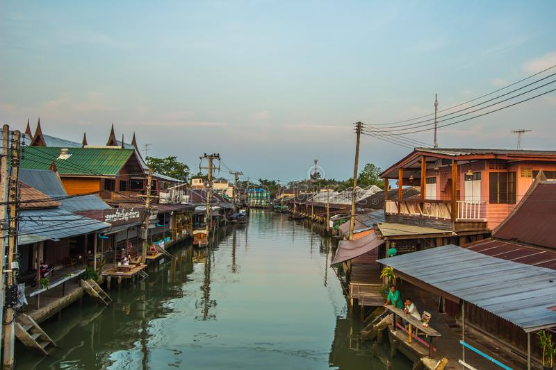 Amphawa district,Samut Songkhram Province,Thailand on April 13,2019:Amphawa Floating Market with peaceful atmosphere in the mornin. Amphawa Floating Market is stock photos