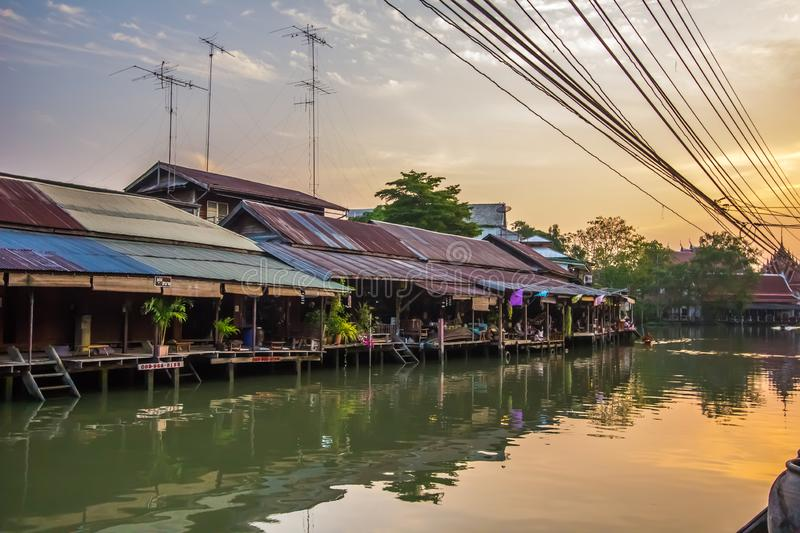 Amphawa district,Samut Songkhram Province,Thailand on April 13,2019:Amphawa Floating Market with peaceful atmosphere in the mornin. Amphawa Floating Market is stock images