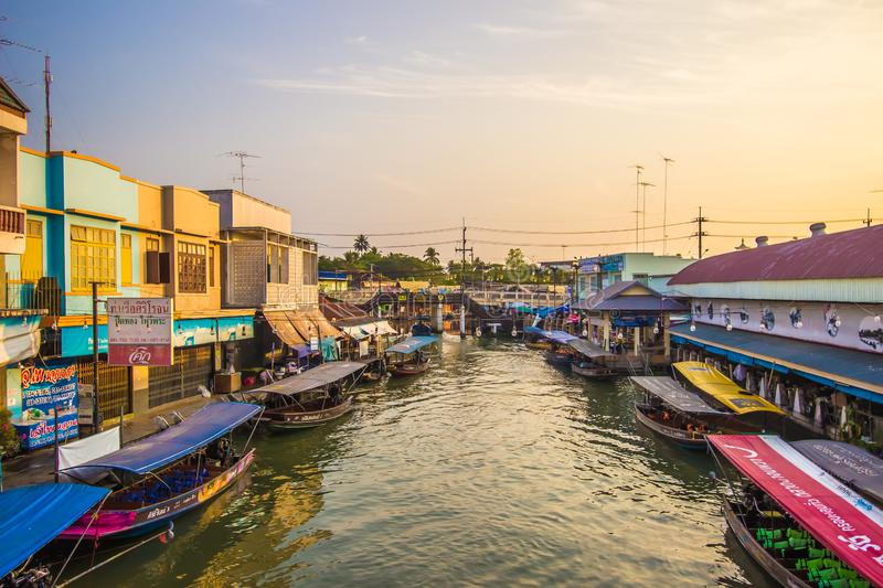 Amphawa district,Samut Songkhram Province,Thailand on April 13,2019:Amphawa Floating Market with peaceful atmosphere in the mornin. Amphawa Floating Market is royalty free stock photo