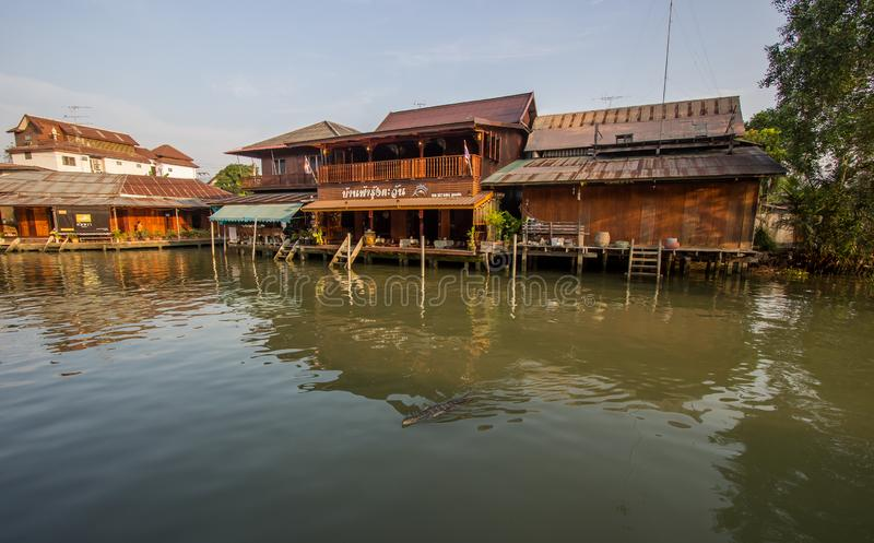Amphawa district,Samut Songkhram Province,Thailand on April 13,2019:Amphawa Floating Market with peaceful atmosphere in the mornin. Amphawa Floating Market is royalty free stock image