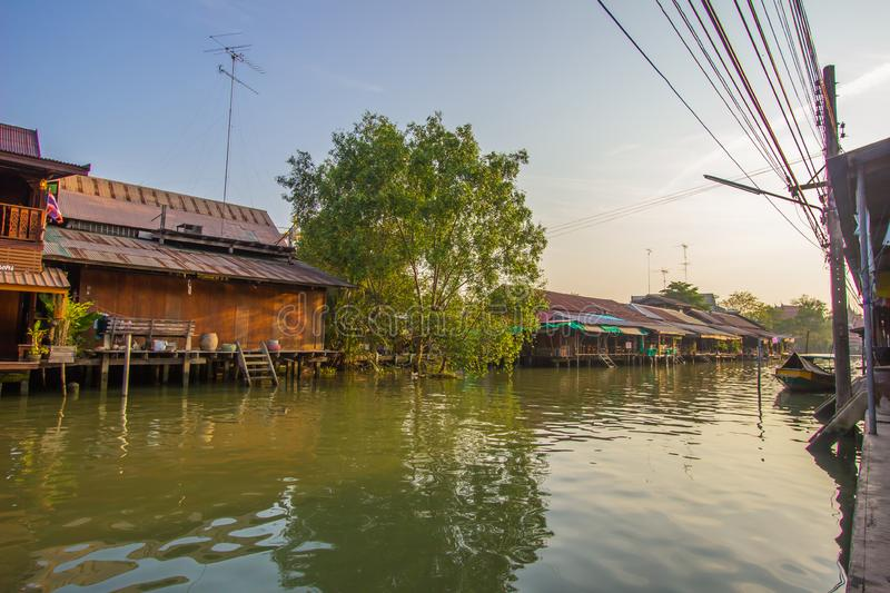 Amphawa district,Samut Songkhram Province,Thailand on April 13,2019:Amphawa Floating Market with peaceful atmosphere in the mornin. Amphawa Floating Market is royalty free stock photos
