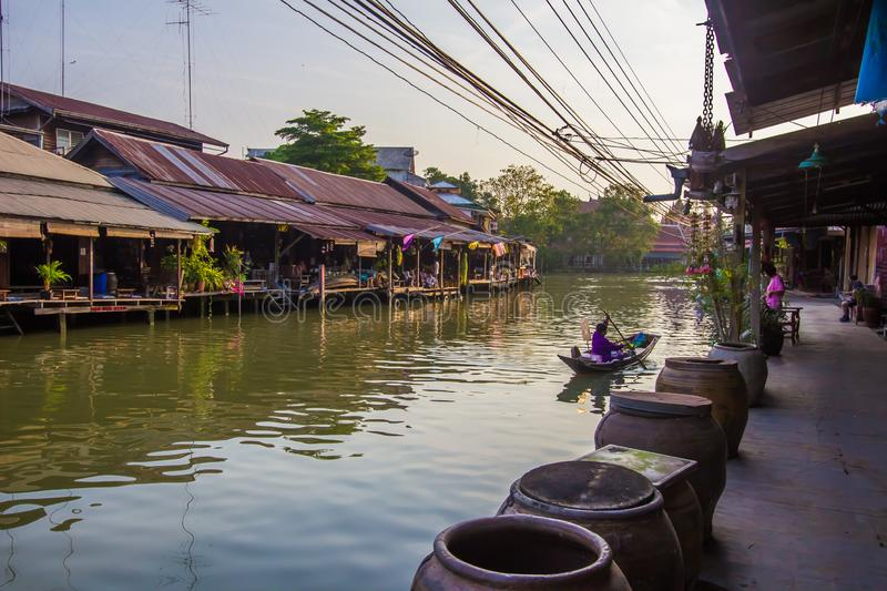 Amphawa district,Samut Songkhram Province,Thailand on April 13,2019:Amphawa Floating Market with peaceful atmosphere in the mornin. Amphawa Floating Market is royalty free stock images