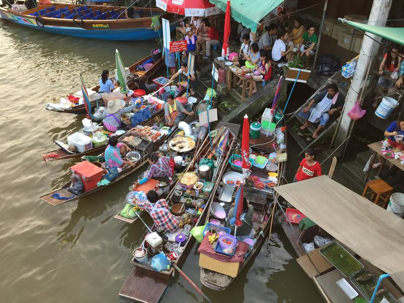 Amphawa Floating Market. Is one of the most popular weekend getaways for the Bangkokians, especially for those who enjoy eating seafood. Among many good things royalty free stock photos