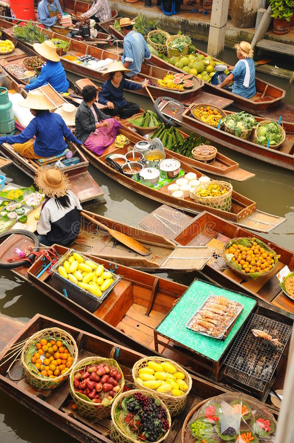 Amphawa Floating market, Thailand. Boats loaded with fruits and vegetables in Amphawa Floating Market, Bangkok, Thailand. Amphawa Floating Market is one of the royalty free stock photos