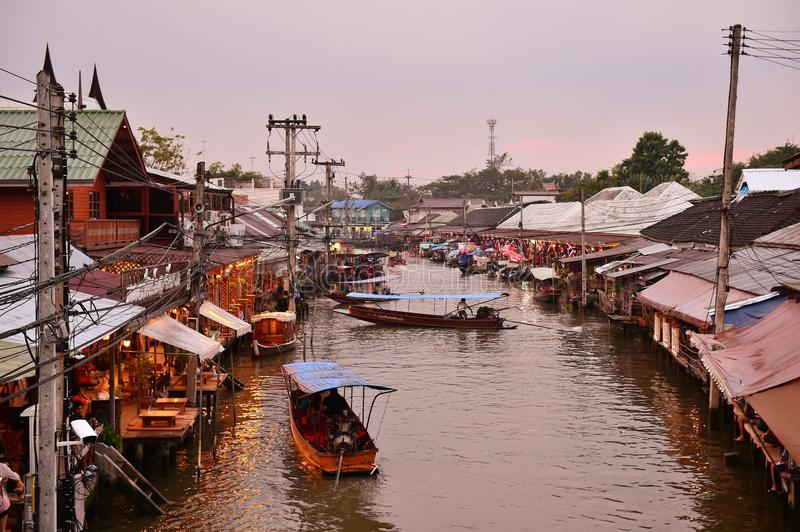 Amphawa market canal, the most famous of floating market and cultural tourist destination. AMPHAWA , NOVEMBER 12 : Amphawa market canal, the most famous of stock images