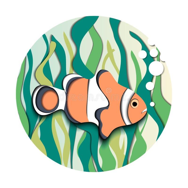 Amphiprion Ocellaris Clownfish ed alga royalty illustrazione gratis