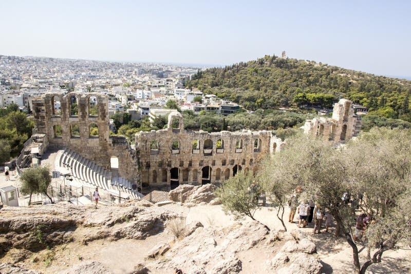 Amphithéâtre dans la ville d'Athènes, Grèce Vue de ci-avant image stock