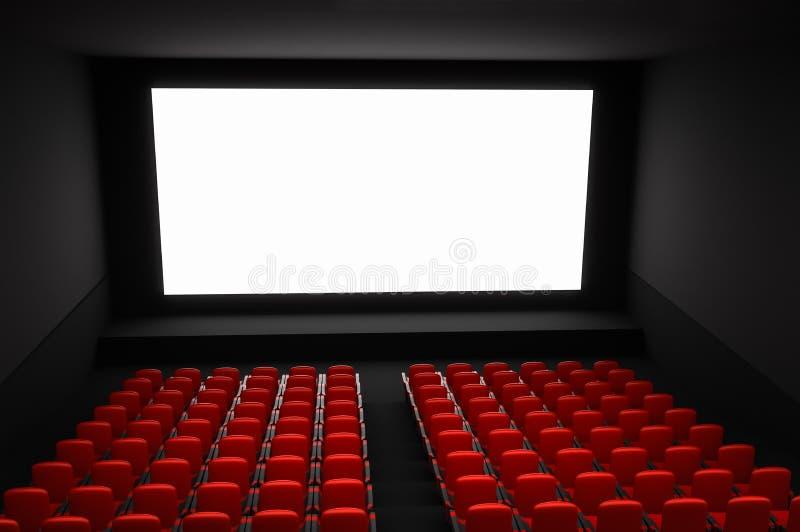 Amphithéâtre de cinéma avec l'écran vide blanc et les sièges rouges illustration libre de droits