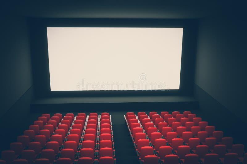Amphithéâtre de cinéma avec l'écran vide blanc et les sièges rouges illustration de vecteur