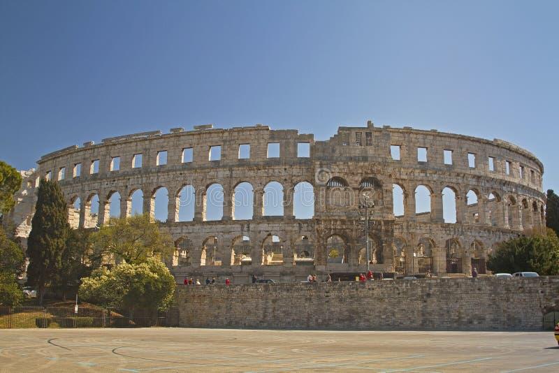 Amphithéâtre de Römisches dans les Pula photo stock