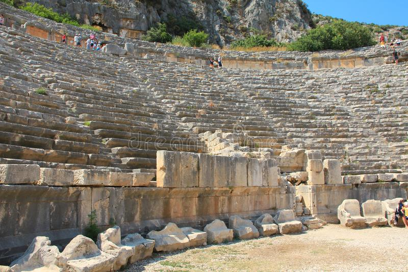 Amphithéâtre Grec-romain antique en Myra, vieux nom - Demre, Turquie photographie stock libre de droits