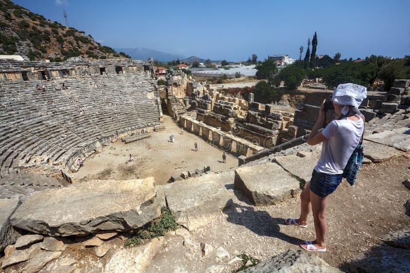 Amphithéâtre Grec-romain antique, Myra, région de Lycia, Demre, Tur photo stock