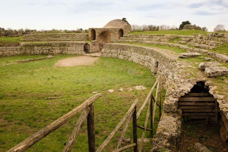 amphithéâtre Paestum salerno Campanie l'Italie images stock