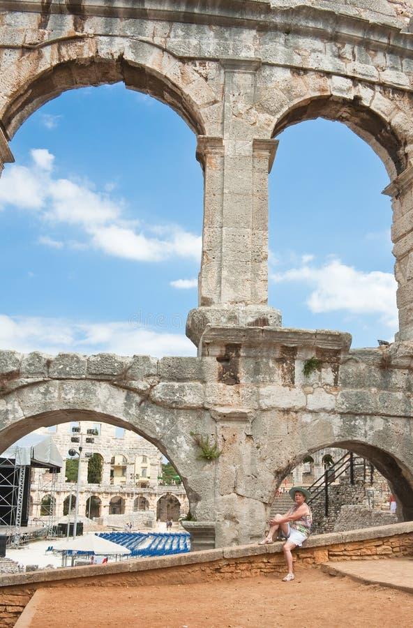 Amphithéâtre romain dans le Pula, Croatie photos libres de droits