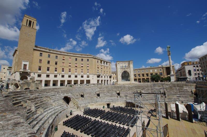Amphithéâtre romain dans Lecce, Italie photographie stock