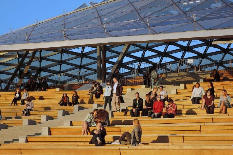 amphith??tre Architecture de parc de Zaryadye ? Moscou Point de rep?re populaire images libres de droits