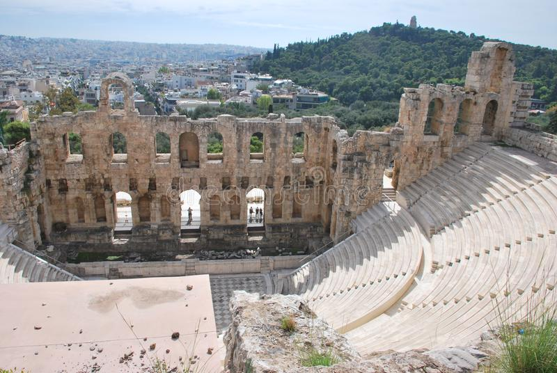 Amphitheater in   the Acropolis  of Athens in  Greece. View of the Amphitheater in the Acropolis of Athens in Greece royalty free stock photos