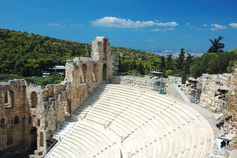 Amphitheater antigo no Acropolis, Atenas, Greece fotografia de stock royalty free