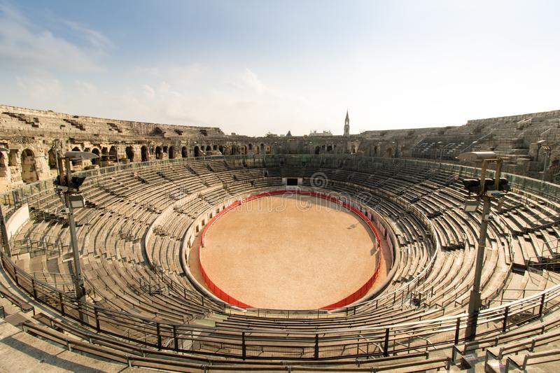 Amphitheater of Arena of Nimes, Nimes, France stock photos