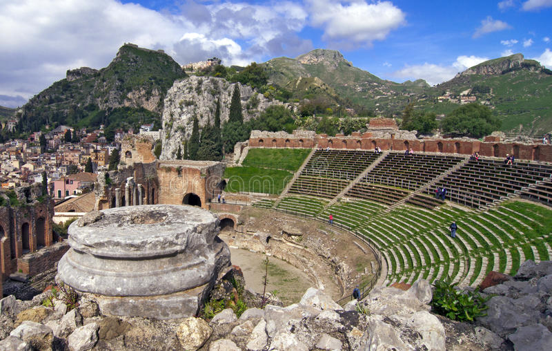 Amphitheater di Taormina fotografia stock libera da diritti