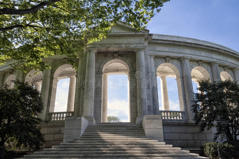 Amphitheater Entrance. The amphitheater entrance for the tomb to unknown soldier in Arlington Cemetery in Virginia, USA stock photography