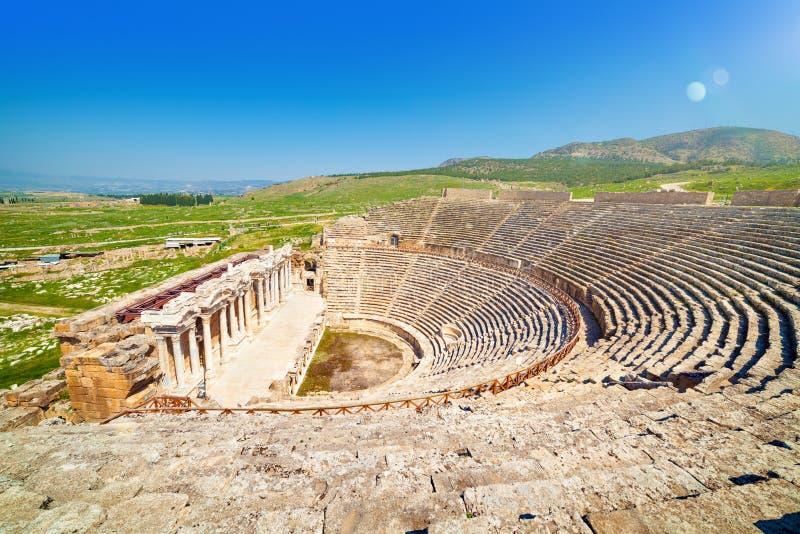 Amphitheater in Hierapolis near Pammukale, Turkey. Antique amphitheater in Hierapolis Holy City near Pamukkale, Turkey stock photo
