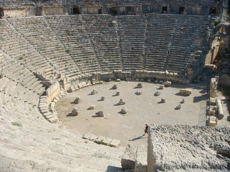 Amphitheater of Myra in Turkey in summer. stock photography