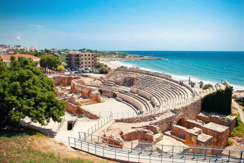 amphitheater roman tarragona arkivfoton