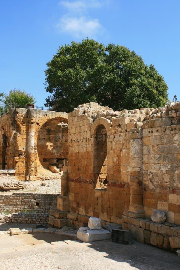 Amphitheater romano em Tarragona imagem de stock