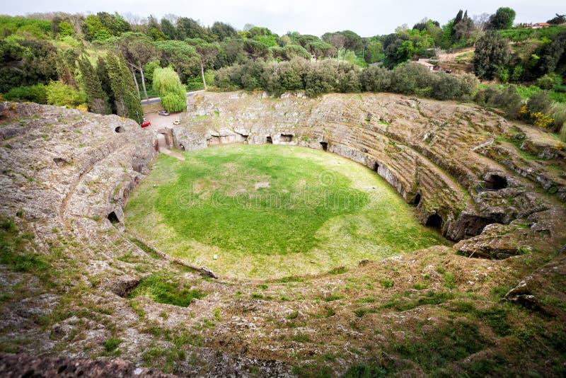 Amphitheater romano Sutri, Itália fotografia de stock