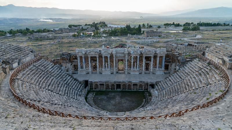 Amphitheater in the ruins of the ancient city of Hierapolis in Pamukkale, Denizli, Turkey. Amphitheater in the ruins of the ancient city of Hierapolis, Pamukkale stock photography