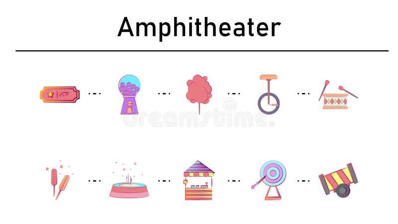 Amphitheater simple concept flat icons set stock illustration