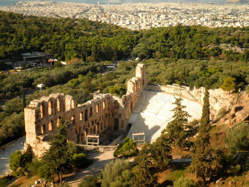Amphitheatre-Amphitheater-Athen-Antenne lizenzfreie stockfotos