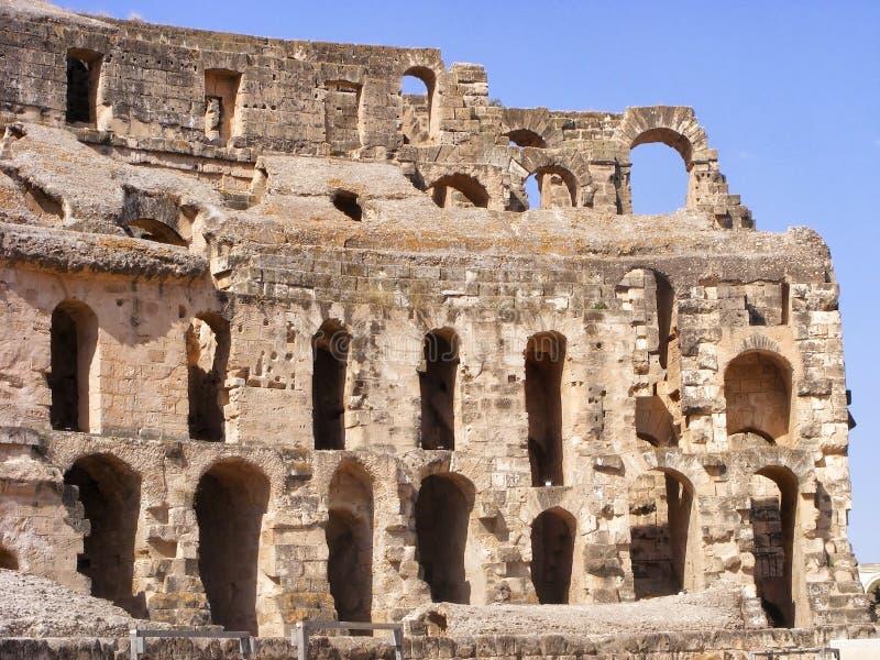 Amphitheatre antiguo en el EL Jem, Túnez, África del Norte imagen de archivo