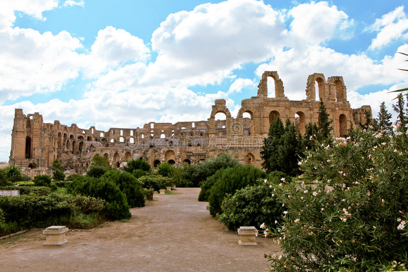 Amphitheatre no EL Djem, Tunísia, África fotos de stock royalty free