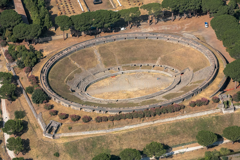 Amphitheatre of Pompeii. Air view Ruins of an ancient Roman city Pompeii, Amphitheatre of Pompeii stock images