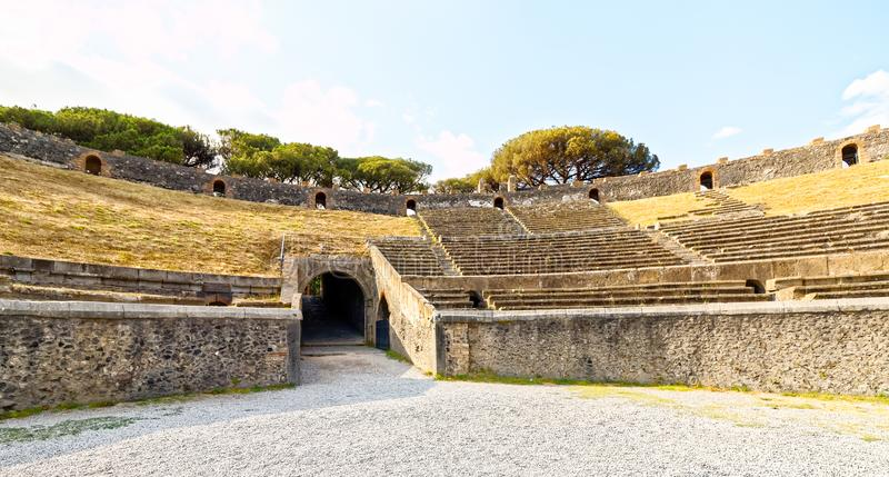 Amphitheatre of Pompeii, Naples, italy. The Amphitheatre of Pompeii is the oldest surviving Roman amphitheatre. It is located in the ancient Roman city of royalty free stock photos