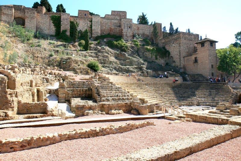 Amphitheatre romano em Malaga, Spain imagem de stock