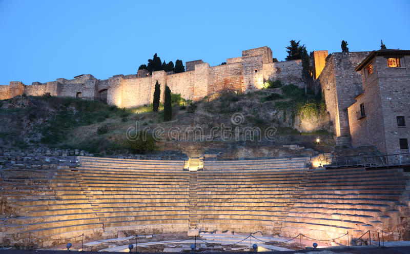 Amphitheatre ruina w Malaga, Hiszpania zdjęcia royalty free