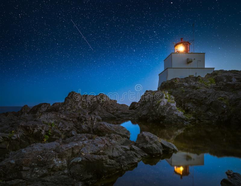 Amphitrite Point Lighthouse. This is a night shot of Amphitrite Point Lighthouse royalty free stock photography