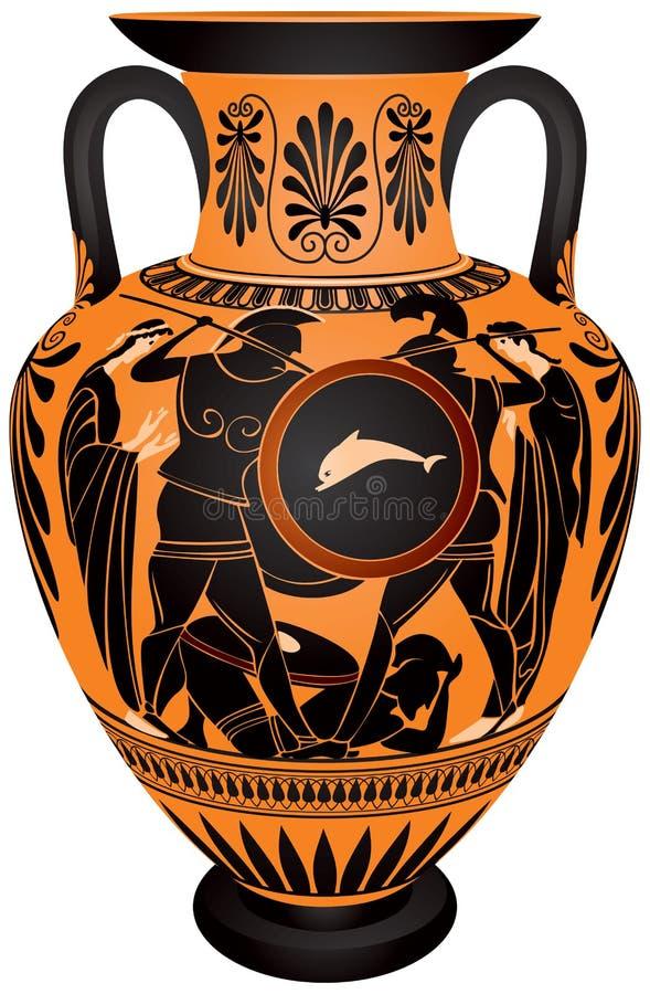 Amphora, bataille antique de Hoplite de la Grèce illustration libre de droits