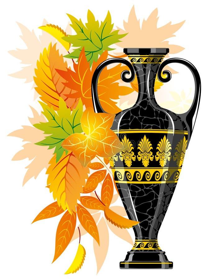 Amphora d'antiquité avec des lames d'automne illustration libre de droits