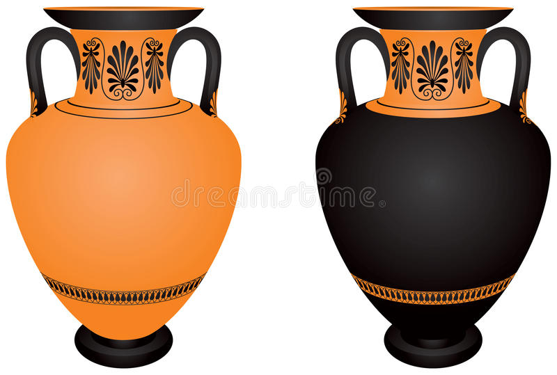 Amphora, en céramique archéologique antique de la Grèce illustration libre de droits