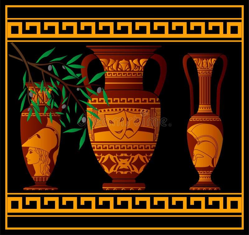 Amphora et cruches du grec ancien illustration libre de droits